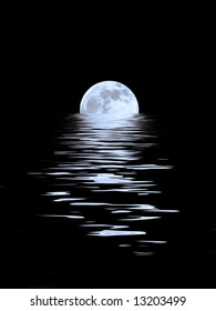 Abstract of a full blue moon on the Spring Equinox reflected over water and set against a black background.