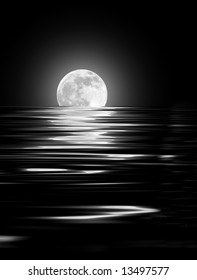 Abstract of a full moon on the Spring Equinox reflected over rippled water and set against a black background.