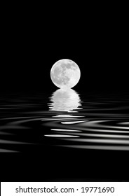 Abstract of a  full moon on the Spring Equinox, with reflection over rippled water, over black background.