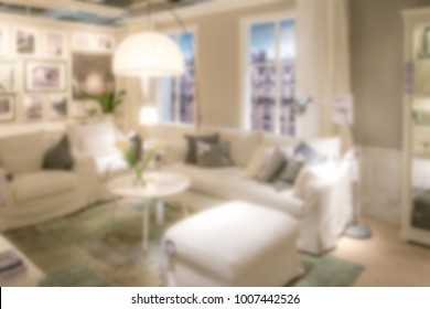 Abstract Furniture Store Modern Apartment Lamps Sofas Chairs Blurred Background