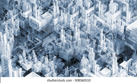 Abstract future city scape 3d rendering