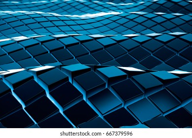 Abstract futuristic array blue blocks or cube on smooth wave shape background. Future clean concept. 3d rendering Image.