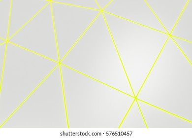 Abstract futuristic background made of polygonal shape. Bright low poly displaced surface with glowing connecting lines. 3D rendering illustration