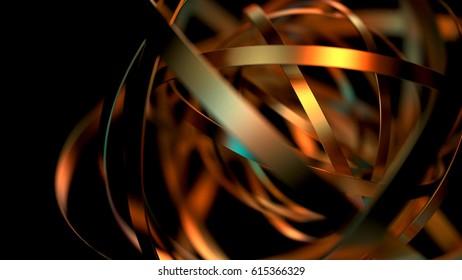 Abstract futuristic background with metallic rings shapes. 3d rendering