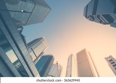 Abstract futuristic cityscape view with modern skyscrapers. Hong Kong - Shutterstock ID 363629945