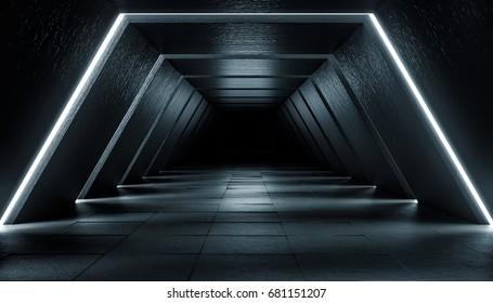 Abstract Futuristic dark corridor interior design. Future concept. 3D Rendering