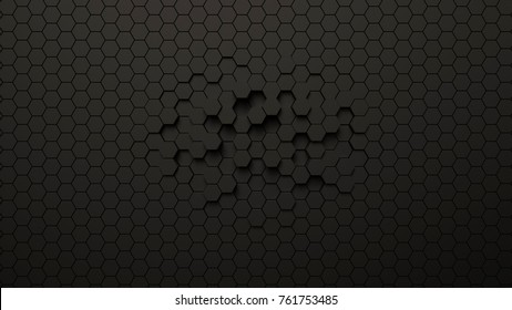Abstract futuristic hexagonal background, 3d illustration