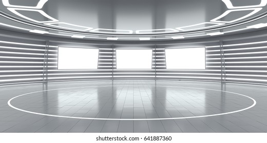 Abstract futuristic interior with glowing panels. 3D Rendering