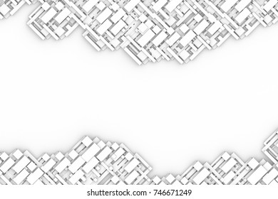Abstract futuristic modern creative geometric with white blank space for architecture interiors background.3D illustration and rendering.