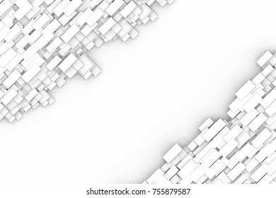 Abstract futuristic of modern flat geometric frame background.3D illustration and rendering