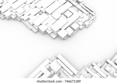 Abstract futuristic modern white geometric architecture interiors background.3D illustration and rendering.