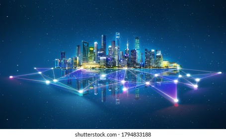 Abstract futuristic night city with dots and line connection. Concept for IOT, smart city, speed connection and intelligent network. - Shutterstock ID 1794833188