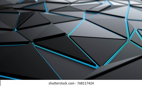 Abstract futuristic polygonal background, 3d illustration