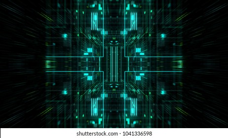 Abstract futuristic sci fi warp tunnel with particle grid. Graphic for data center, server, internet, speed. Futuristic big data visualisation, hi tech background. 3D rendering.