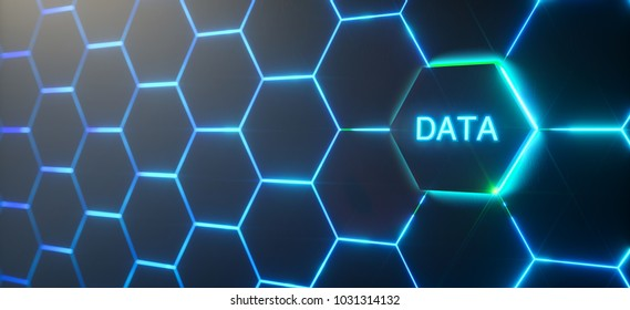 Abstract futuristic surface hexagon pattern with light rays - Big data context,  3D Rendering