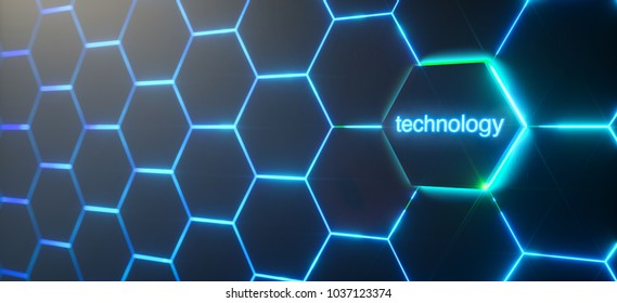 Abstract futuristic surface hexagon pattern with light rays - technology buttoncontext,  3D Rendering