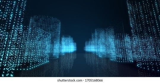 Abstract futuristic -  technology with polygonal shapes on dark blue background.  Design digital technology concept. Illustration. 3d rendering.