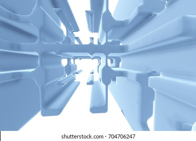 Abstract Futuristic tunnel like spaceship corridor blue metal in white space. 3d illustration.