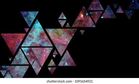 Abstract galaxy geometric background with triangles on black background. Elements of this image furnished by NASA.