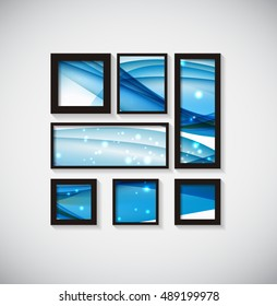 Abstract Gallery Background with Frame and Beautiful Wave.  Illustration
