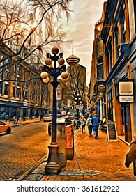 Abstract of Gastown in Vancouver B.C.