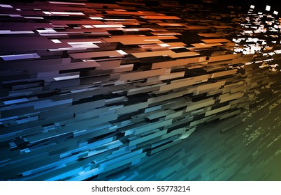 Abstract Geometric Background with a 3d Data Art