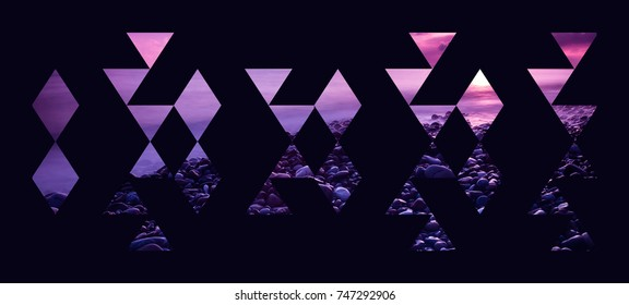 Abstract geometric background, pink and purple beach sunset triangles composition isolated on black wallpaper.