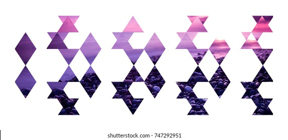 Abstract geometric background, pink and purple beach sunset triangles composition isolated on white backdrop.