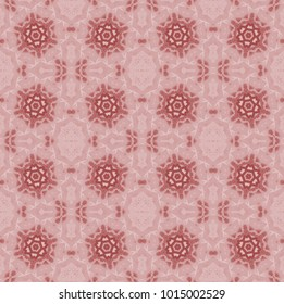 Abstract geometric background. Regular floral ornaments pastel red and brown on pink, ornate and dreamy.