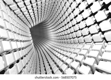 Abstract geometric background with a tunnel going to perspective. 3d render