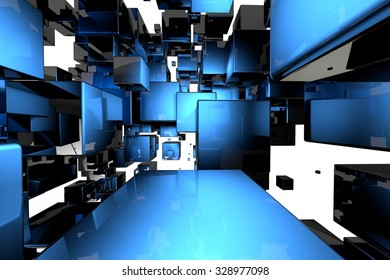 Abstract geometric cubes background . 3d render