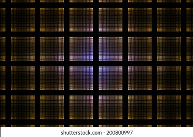 Abstract geometric grid background with a detailed square pattern created by many intersecting lines in glowing yellow and blue colors and against black color
