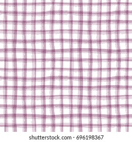 Abstract geometric lined texture. Seamless irregular plaid pattern, mulberry tint. Watercolor background in trendy color.