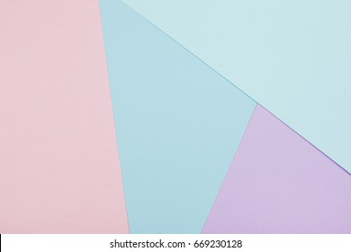 Abstract geometric paper background. Blue and pink trendy colors.