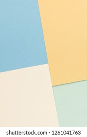 Abstract geometric paper background pastel colors. Fashion trend colors. Minimal concept. Flat lay, Top view. Copy space