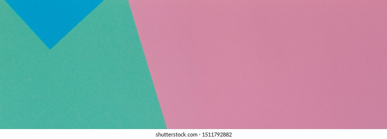 Abstract geometric paper texture background with trendy colors pastel pink, light blue and green color