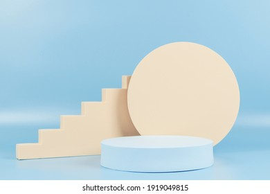 Abstract geometric pastel color product display podium on light blue background. Minimal different shapes scene stage showcase stand for product promotion presentation