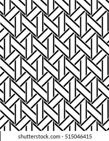 Abstract geometric pattern with stripes. A seamless background. Black and white texture. Graphic modern pattern.