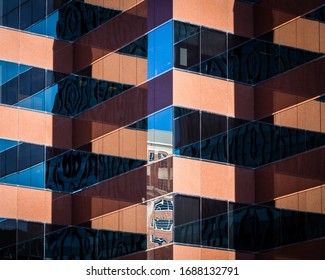 Abstract Geometric Reflections in Windows of Modern Office Building