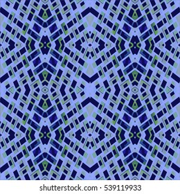 Abstract geometric seamless background. Regular ornate diamond pattern in purple shades with dark blue and pale green elements.