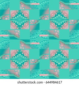 Abstract geometric seamless background. Regular squares and diamond pattern with circles pink and turquoise green shifted.