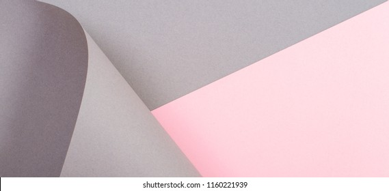 Abstract geometric shape gray and pink color paper background