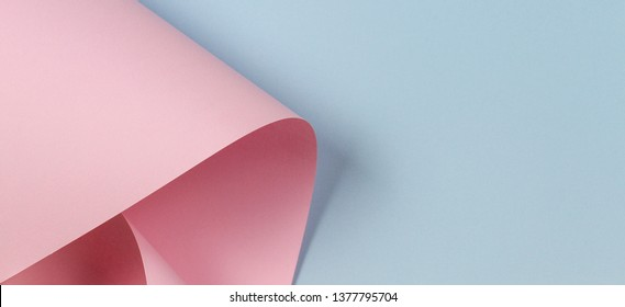 Abstract geometric shape pastel pink and blue color paper background