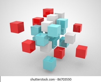 Abstract geometric shapes from cubes - this is 3d render illustration