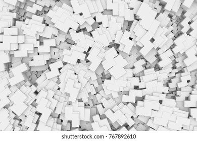 Abstract geometric spiral alignment black and white background.3D illustration and rendering.