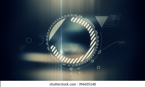 Abstract geometrical flat white form with lens flare