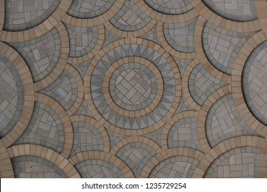 Abstract geometrical texture of decorated building ceiling