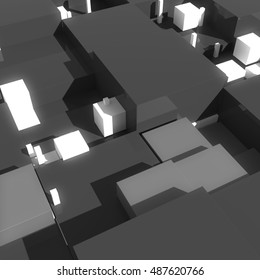 Abstract geometry background. 3D rendered cubes with different size. 3D cubes with shadows, reflection and bright elements.
