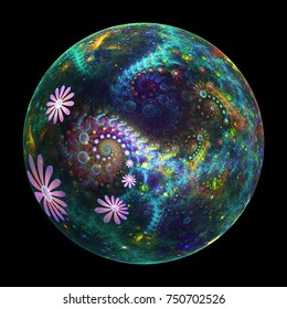 Abstract glass sphere with pink, blue and green flowers. Fantasy fractal design. Psychedelic digital art. 3D rendering.