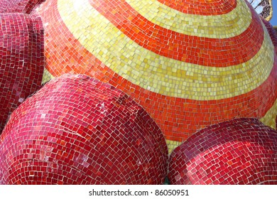 Abstract glass tiles in colorful rounded shapes
